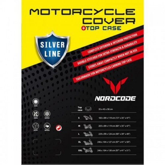 Κάλυμμα Μοτοσυκλέτας Nordcode Cover Silver Line + Top Case XLARGE